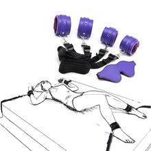 bdsm Bondage Sex Toys for Couples Adult Games Bondage Restraints Kit Handcuffs+Ankle Cuffs & bdsm Mask Blindfold for Sex Game
