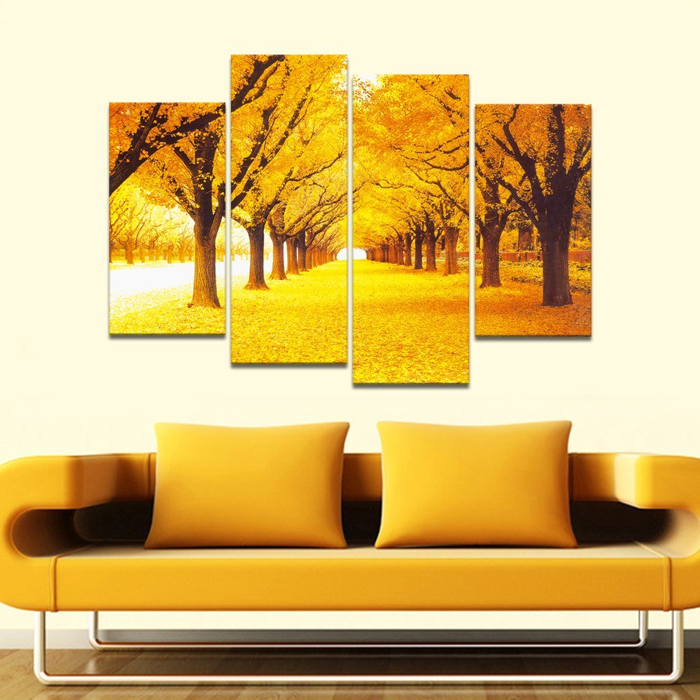 4 Panels Modern Sunset Gold Trees HD Picture Canvas Print Painting ...