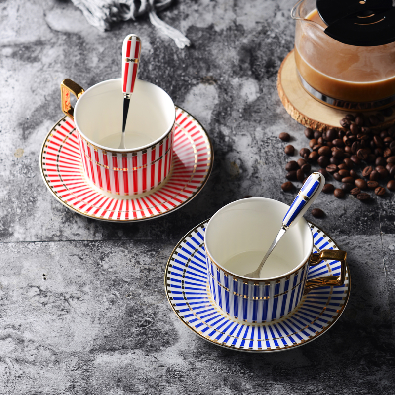 European geometric ceramic coffee cup and saucer set hand-painted high-end bone china coffee cup set / stainless steel spoon