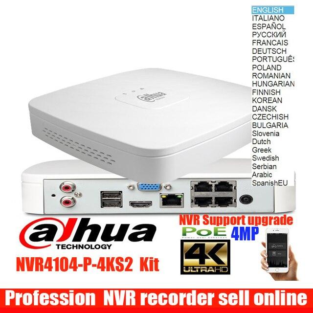 Mutil idioma original dahua dahua NVR POE NVR4104-P-4KS2 4CH 4PoE 4 K H.265 Inteligente 1U 8Mp Lite de Gravação de Vídeo em Rede gravador