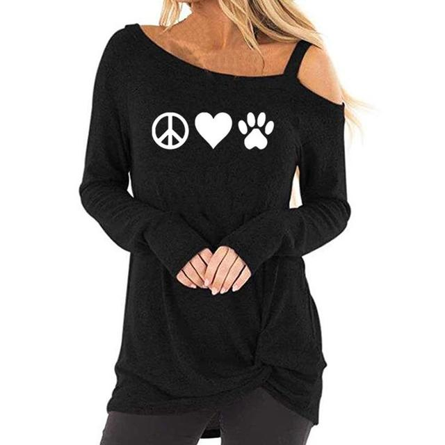 0546c74961f New Fashionlong Sleeve Oblique Shoulder T-Shirt DOG PAW Animal Print T-Shirt  for Women Top Harajuku Female Cropped Long Sleeve