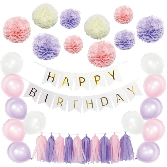 purple pink paper pom poms flowers kits happy birthday banner party