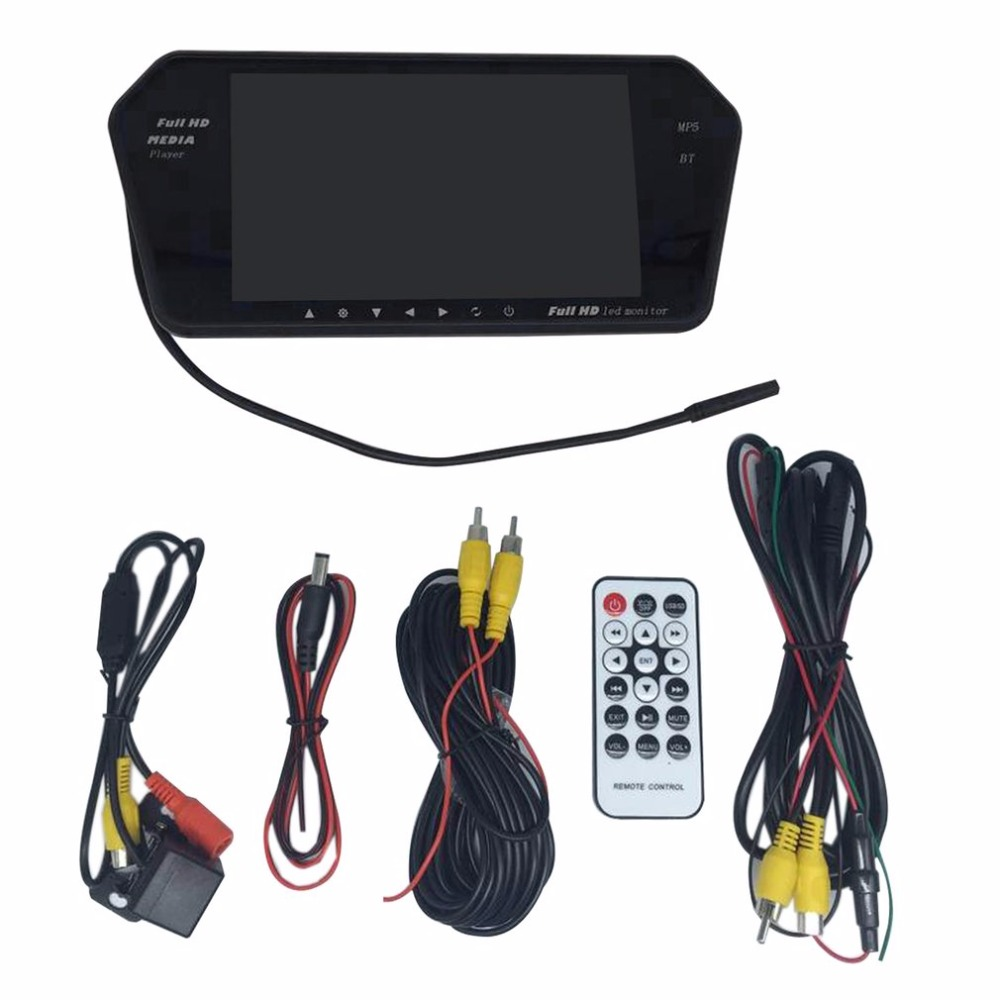 New Car Rear View Kit 7 Inch LCD Bluetooth Mirror Monitor With Reverse Camera 170 Degree Wide Angle Lens Support Night Vision