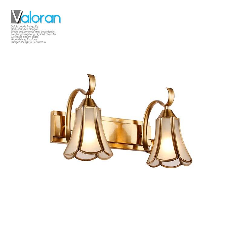ФОТО Europe vintage copper 350cm bathroom vanity mirror light makeup lamp picture lighting E14 Socket luxury copper body bedroom