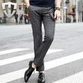 MWAMI High Quality 2015 Men Autumn Winter Formal Plaid Fashion Suits Long Pants Business Wedding Groom Pant Super Slim Straight