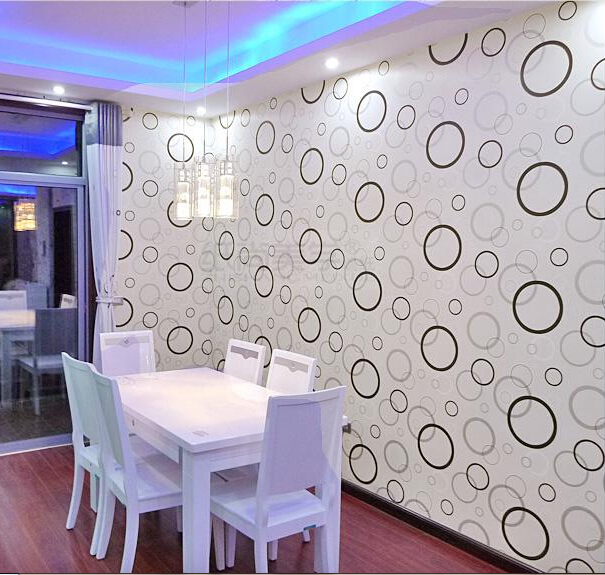 10m*53cm hot sale New classic TV wall background wall paper Black and white and modern geometry drawing circles porch wallpaper