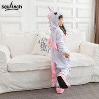 Unicorn Onesie Pink Pajama Girls Kids Child Home Party Wear Lovely Cute Animal Cartoon Winter Warm