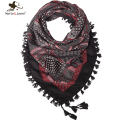 Fashion Bohemia Style Floral Scarf and Wrap Fringed Square Scarf for Women Europe Ethnic Style Tassel Bandana for Girls