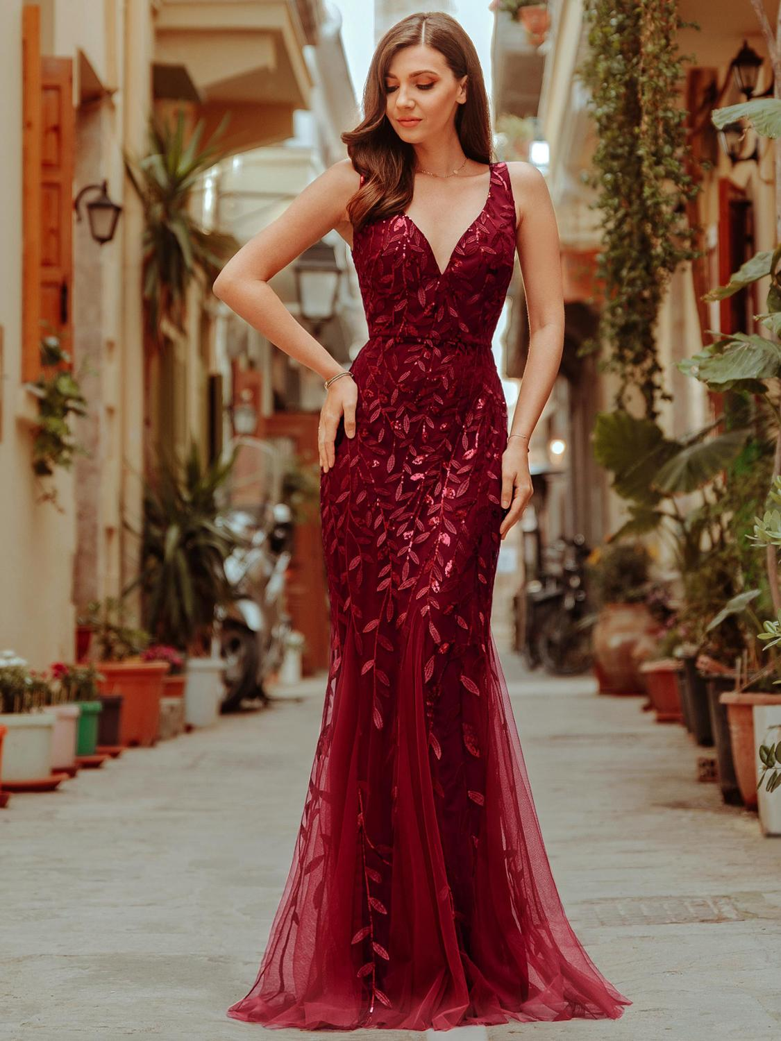 Party-Gowns Evening-Dresses Ever Pretty Mermaid-Sequined Burgundy Elegant Women V-Neck