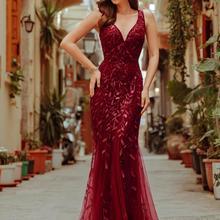 Evening-Dresses Formal-Gown Mermaid-Sequin Ever Pretty Party Wedding Burgundy Elegant
