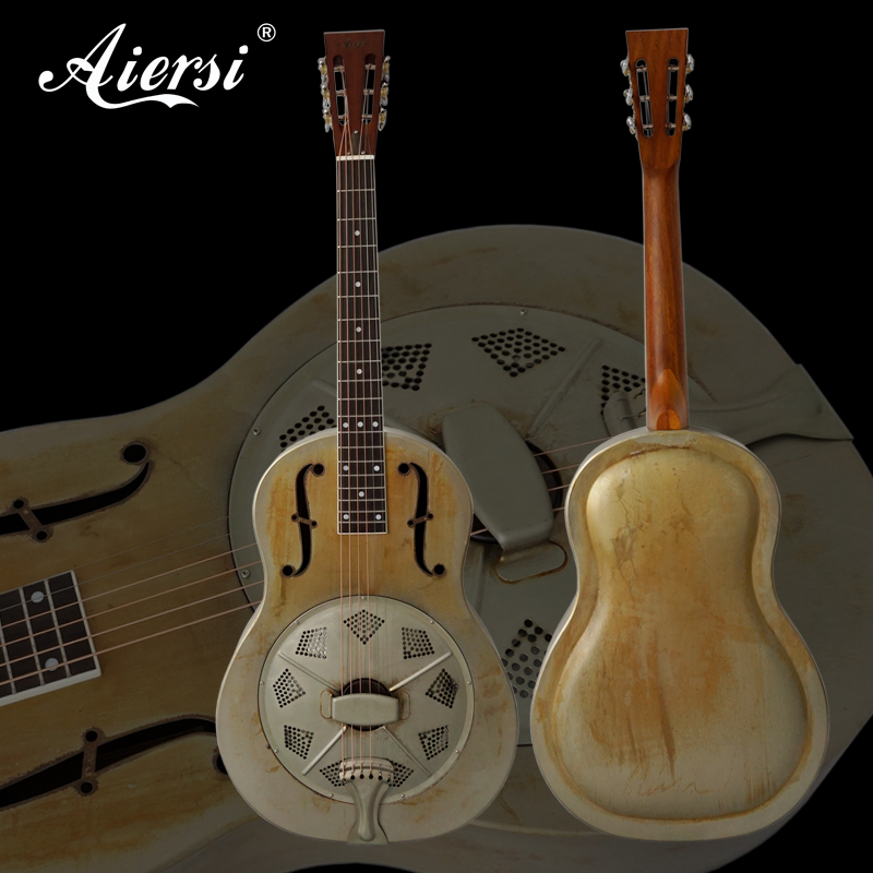 Aiersi Brand Vintage Dirty Finish Metal Body Duolian Acoustic Resonator Guitar Free Guitar Case and Strap down and dirty