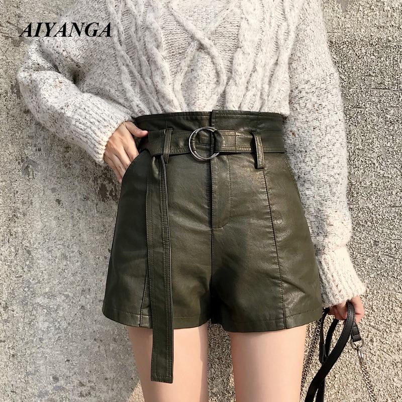 AIYANGA Faux Leather PU   Shorts   Women Autumn Winter 2018 New Slim Sexy High Waist Harem   Shorts   Boot   Shorts   Female With Slashes