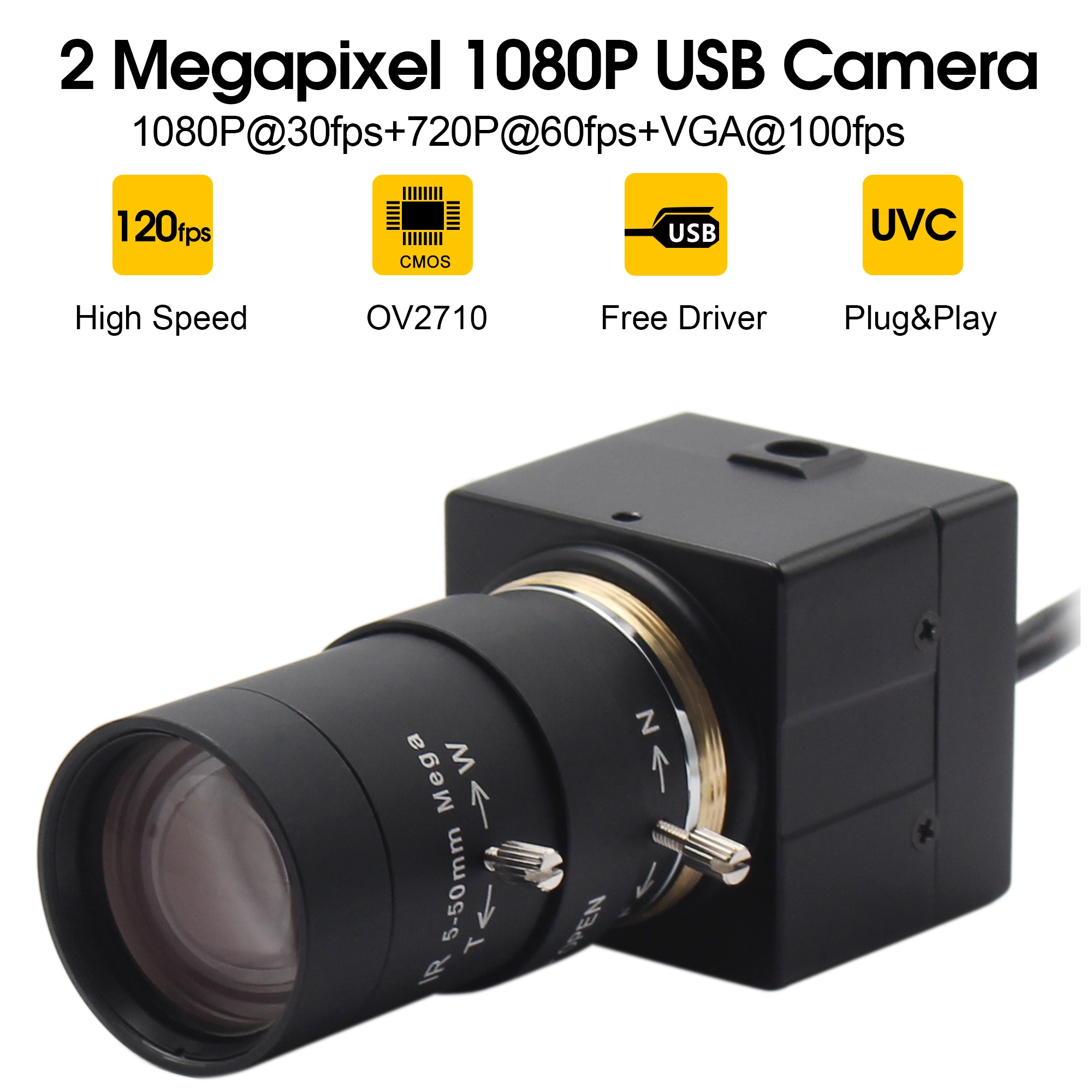 1080P USB Webcam 5 50mm CS Mount Varifocus lens CMOS OV2710 MJPEG 30fps 60fps 120fps USB
