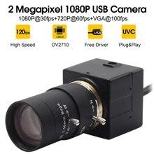 1080P Webcam USB 5 50 Mm CS Núi Varifocus Ống Kính CMOS OV2710 MJPEG 30fps/60fps/120fps USB Camera Phòng Cho Máy Tính Laptop PC