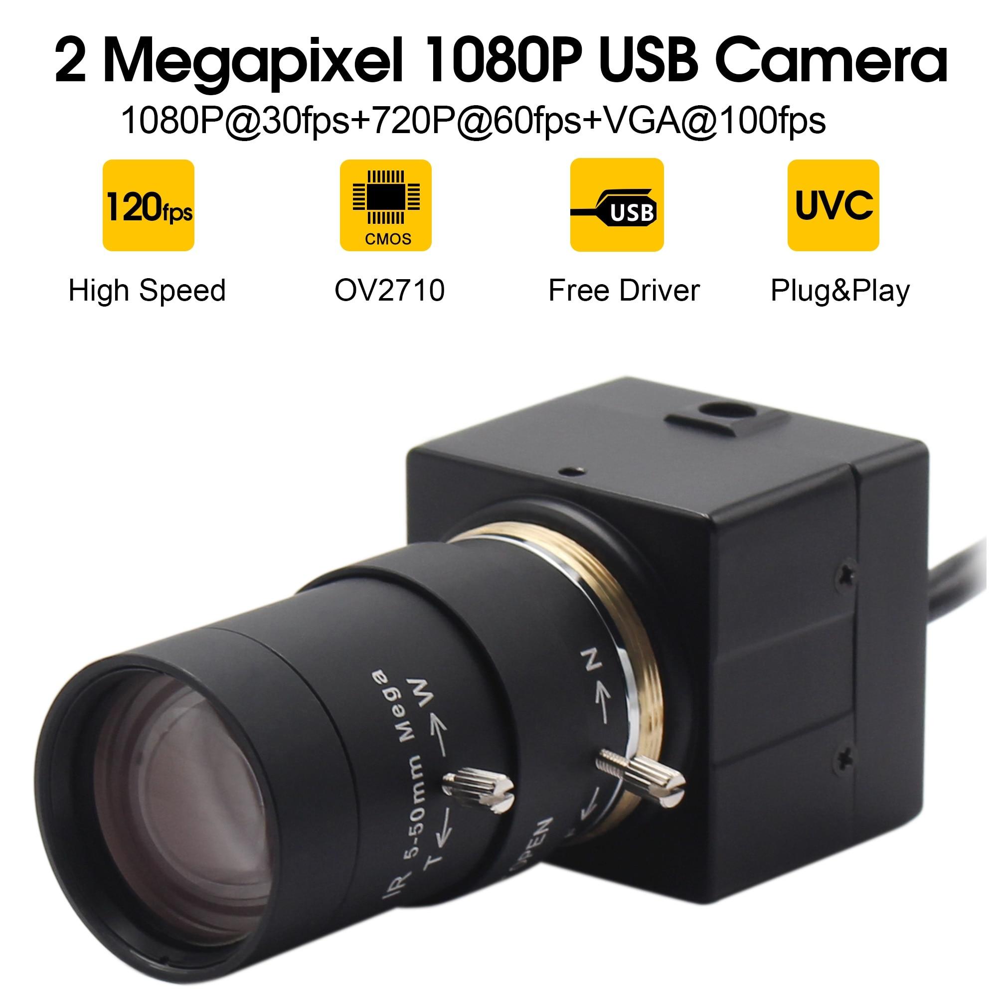 Cámara web USB de 1080P, 5 50mm CS, lente de montaje Varifocus CMOS OV2710 MJPEG 30fps/60fps/120fps, cámara USB para ordenador, PC y portátiles Cámaras web    - AliExpress
