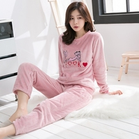 Thick Warm Flannel Pink Leopard Pajama Set for Women Winter Long Sleeve Coral Velvet Pyjama Girl Cute Cartoon Sleepwear Homewear