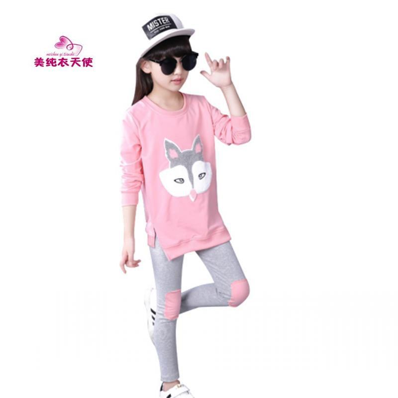 Girls Tracksuits Sets Spring Autumn Kids Cartoon Fox Pattern T-Shirt+Legging 2 pcs Sport Suit Children Clothes 4 6 8 10 12 Years