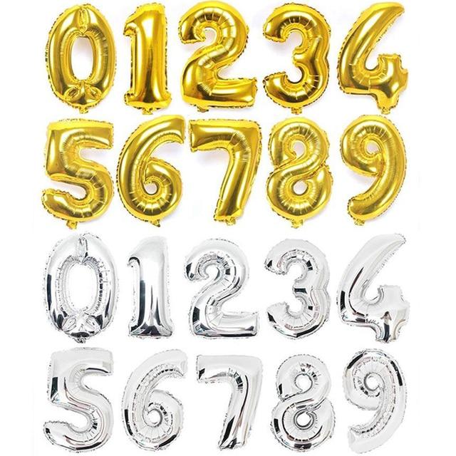 32 pouces or argent numéro feuille ballons chiffre fête ballons anniversaire décoration mariage ballons hélium Balon heureux bébé enfant