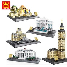 Wange  series The Egyptian Pyramids Big Ben World famous building model Technology creative assembly block toy gift