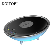 DOITOP QI Standard Wireless Charger For Iphone Apple Ios Android Mobile Phone 5W Colorful LED Night Light Bedside Lamp Charger