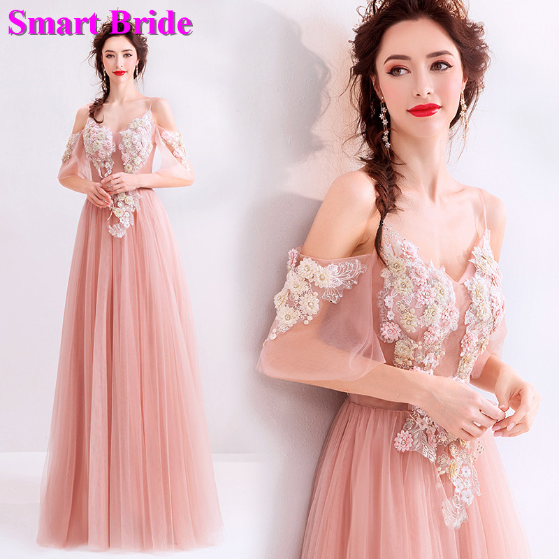 Tulle   Evening     Dresses   2019 A line Dark Pink Women's Prom   Dresses   Floor Length Bridal Elegant Birthday Party   Dress   LZ08