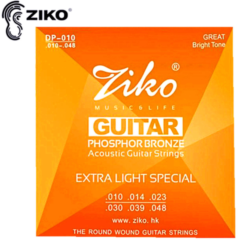 ZIKO 010-048 DP-010 Acoustic guitar strings musical instruments PHOSPHOR BRONZE Strings guitar parts wholesale two way regulating lever acoustic classical electric guitar neck truss rod adjustment core guitar parts