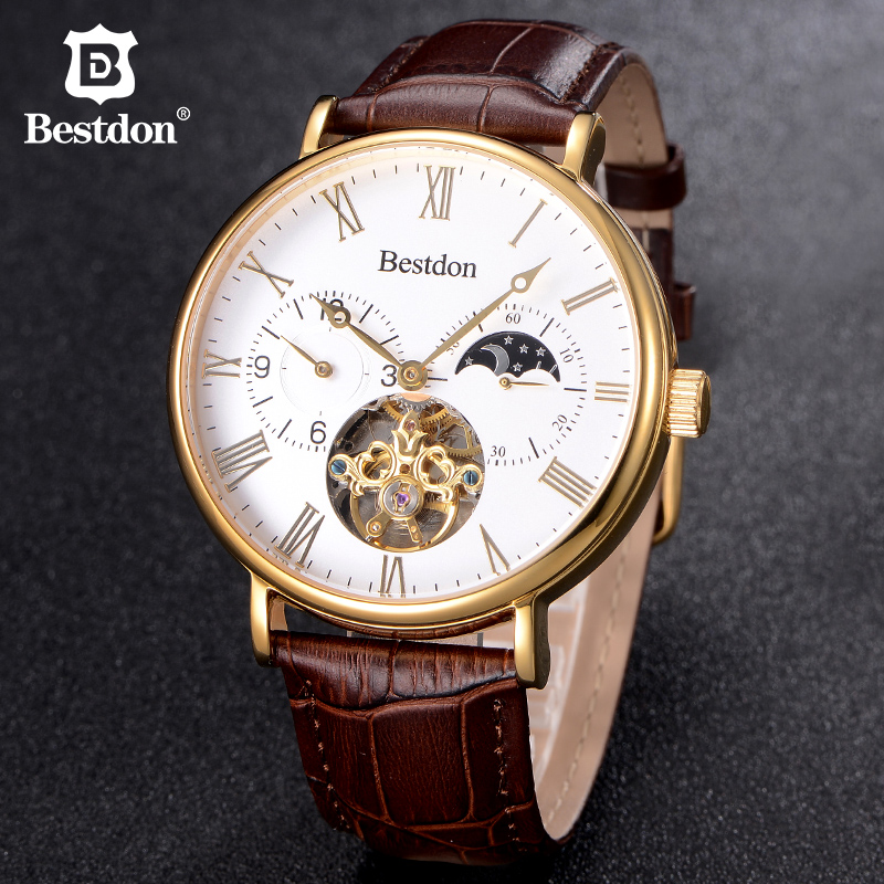 Classic Tourbillon Mens Watches Bestdon Top Brand Luxury Automatic Watch Golden Case Large dial Male Clock Mechanical Watch mce sports mens watches top brand luxury genuine leather automatic mechanical men watch classic male clocks high quality watch