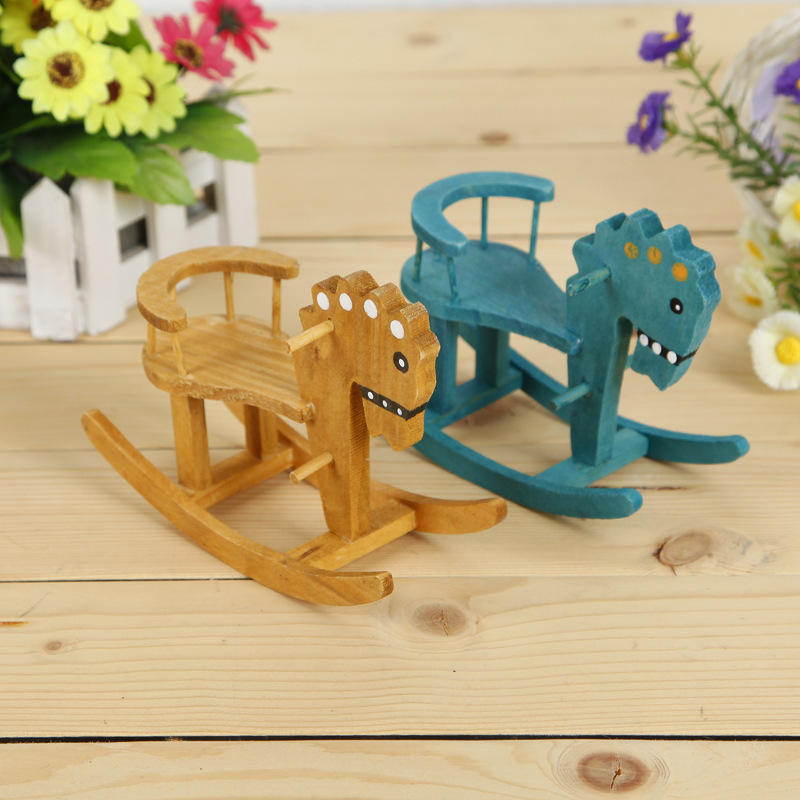 Wood Rocking Horse Figurine Solid Color Animals Furnishing Articles Small Adornmen Crafts Gifts Home Decor 0189