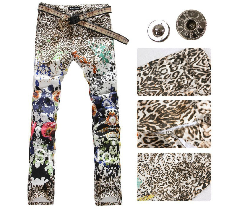 2016 Hot selling personality painted jeans for men leopard print colored drawing slim flower fashion night club pants 27-40
