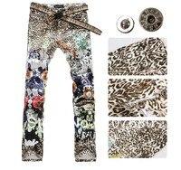 2016 vente Chaude personnalité peint jeans pour hommes imprimé léopard dessin coloré mince fleur fashion night club pantalon 27-40