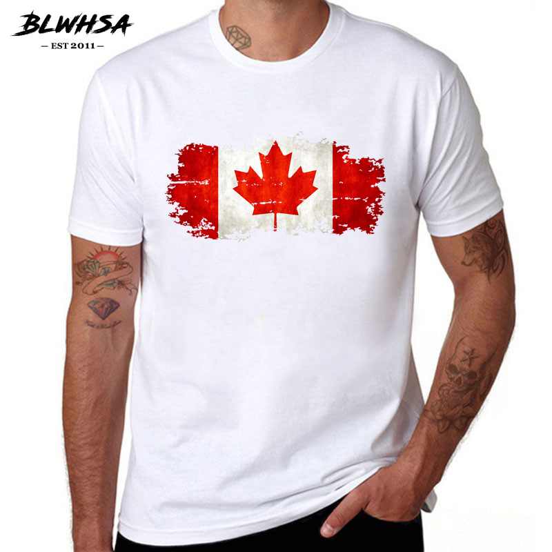 BLWHSA Canada Flag Printing   T     shirt   Men Fashion Short Sleeve Cotton Summer   T  -  shirts   Casual Canada Flag Funny Tops Tees