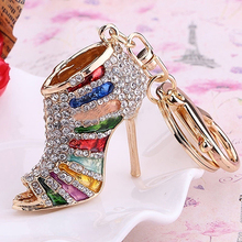 2016 Creative High Heel Shoes Keychains Rhinestone Keyring Women Handbag Key Holder