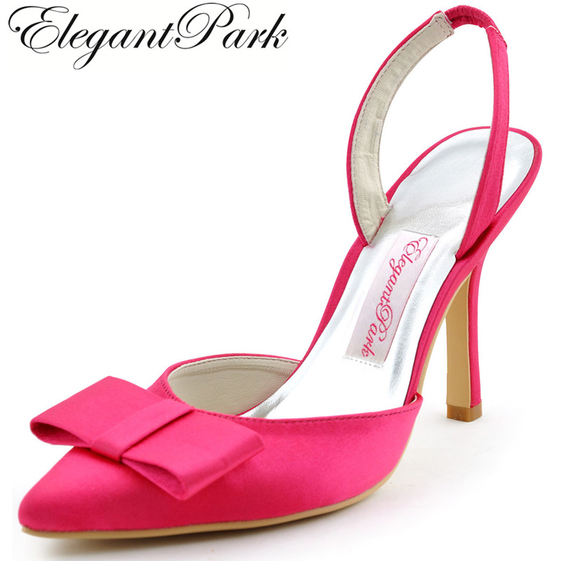 Summer Woman Wedding Shoes Sexy Hot Pink HC1404 Pointy Bow Slingback High Heel Pumps Satin Bride Prom Party Bridal Sandals White women mint summer sandals high heel platform flower pumps satin bride bridesmaid lady wedding bridal shoes woman sandals ep2063