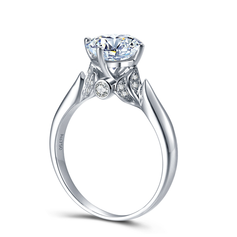 Gorgeous 3 Carat ct DEF Color Lab Grown Moissanite Diamond Ring Halo Engagement Wedding Ring 14K 585 White Gold transgems 1ct carat lab grown moissanite diamond jewelry wedding anniversary band solid white gold engagement ring for women