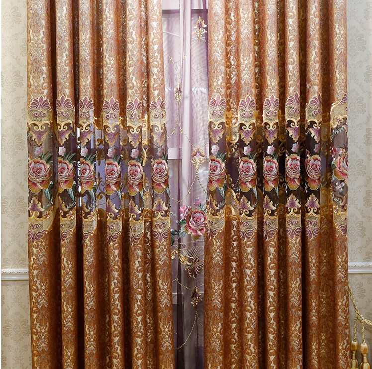 Chinese Style Retro Purple Peony Embroidered Curtains Bedroom Living Room Floral Curtain Luxury Modern For Tulle