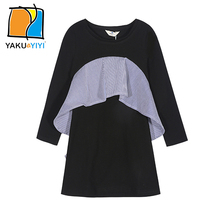 YKYY YAKUYIYI Frill Irregular Girls Dress Black & White Contrast Baby Girls Dress Long Sleeve Children Dress Girls Clothing