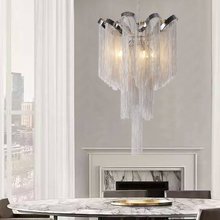 Modern Vintage Lamp Aluminum Silver Chain Chandelier Lighting Luxury Pendant Hanging Light for Home Hotel Restaurant Decoration