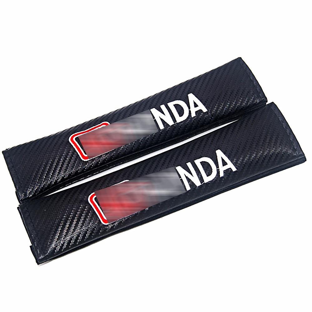 2pcs Carbon Fiber Car Seat Belt Cover Shoulder Padding Car Styling For Honda Accord Civic CR-V CR-Z Fit Insight Odyssey Pilot