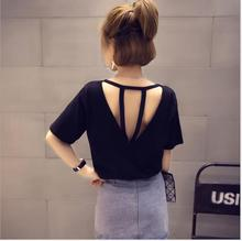 Hollow Out Backless Women T Shirts Plain Short Sleeves Round Neck Girls Tee Tops 2019 Summer Wide Leisure Sexy Streetwear Tshirt