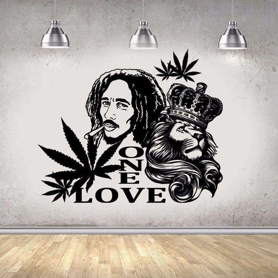 d4b5b5d1dec2 Vinyl Wall Decal Bob Marley Lion ONE LOVE Wall Sticker Reggae Music Wall  Art Murals Removable Poster Home Art Design Decor AY447