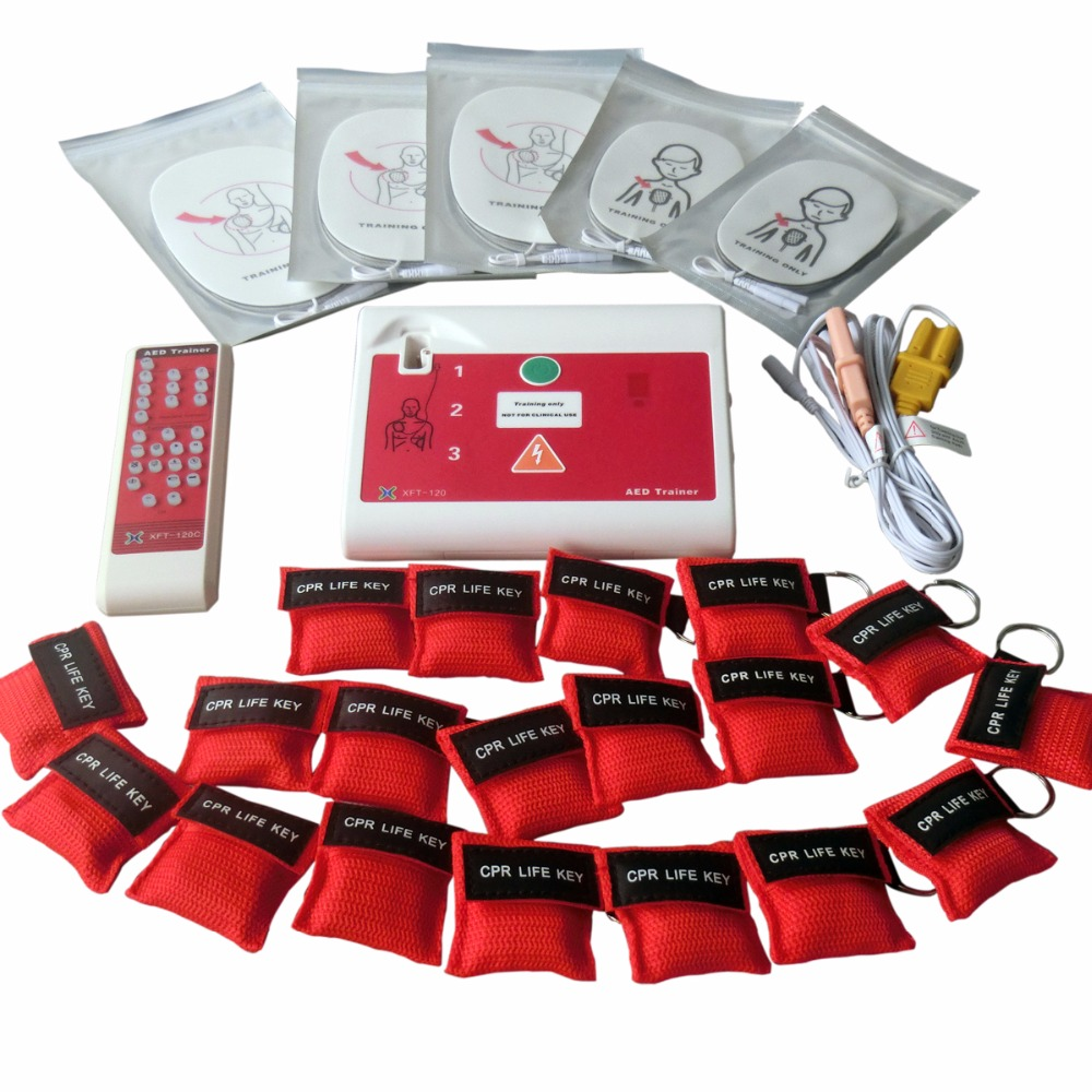 XFT-120C AED/Simulation Trainer First-Aid CPR Training Teaching Device Practice Machine With 50Pcs Red CPR Resuscitator Mask xft 120c aed simulation defibrillator trainers simulation aed m defibrillation apparatus aed defibrillator wbw400