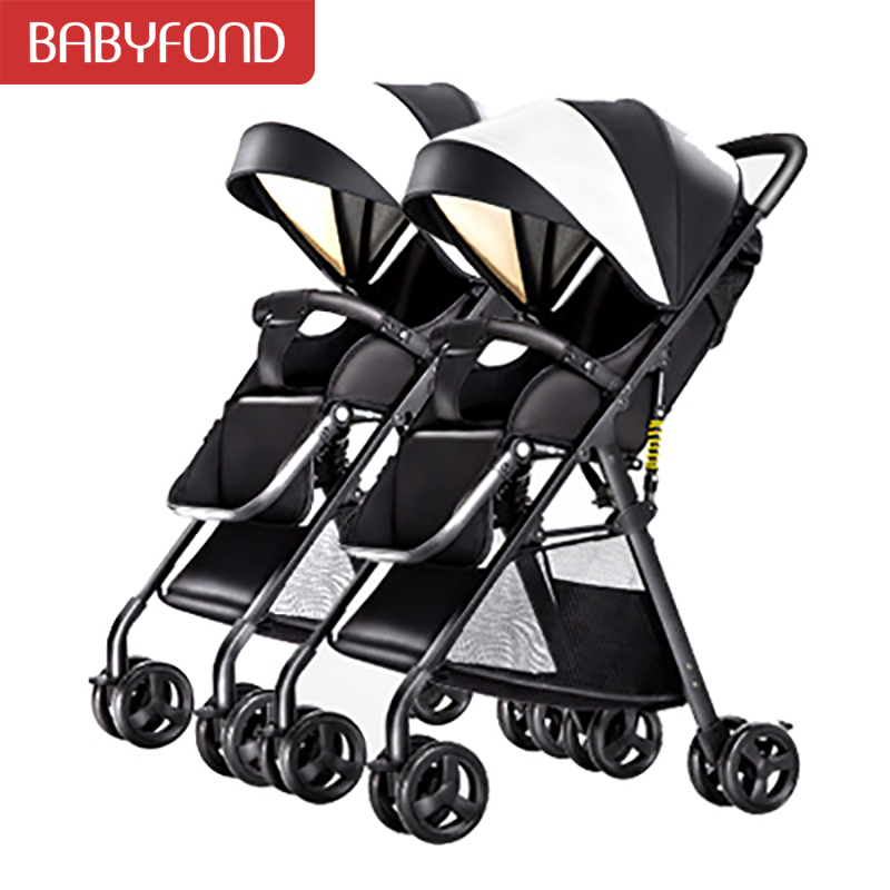 2020 Twin baby strollers can detachable ultra-light can be on plane umbrella carts portable folding baby baby stroller