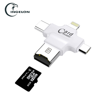 3 in 1 Type-c/Micro USB/USB 2.0 Memory Card Reader Micro SD Card Reader android otg readerFor iphone 7plus 6s 5s Header Freeship