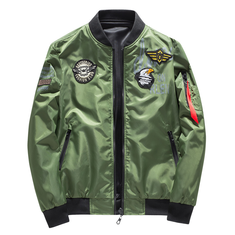 Image 5 - Male Bomber Jacket Men Army Military Pilot Jacket Badge Embroidery Baseball Jacket Double Sided Motorcycle Coat Big Size 5XL 6XL-in Jackets from Men's Clothing