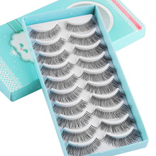 10 Pairs Wispies False Eyelashes Thick Long Crisscross Lashes Extension Handmade Soft Eye Makeup Lashes