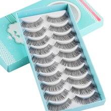 10 pares wispies cílios postiços grossos longos crisscross cílios extensão artesanal macio olho maquiagem cílios