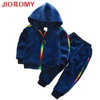JIOROMY Baby Boys Clothing Sets 2017 Autumn Winter Velvet Thick Long Sleeved Zipper Hooded Jacket Pants