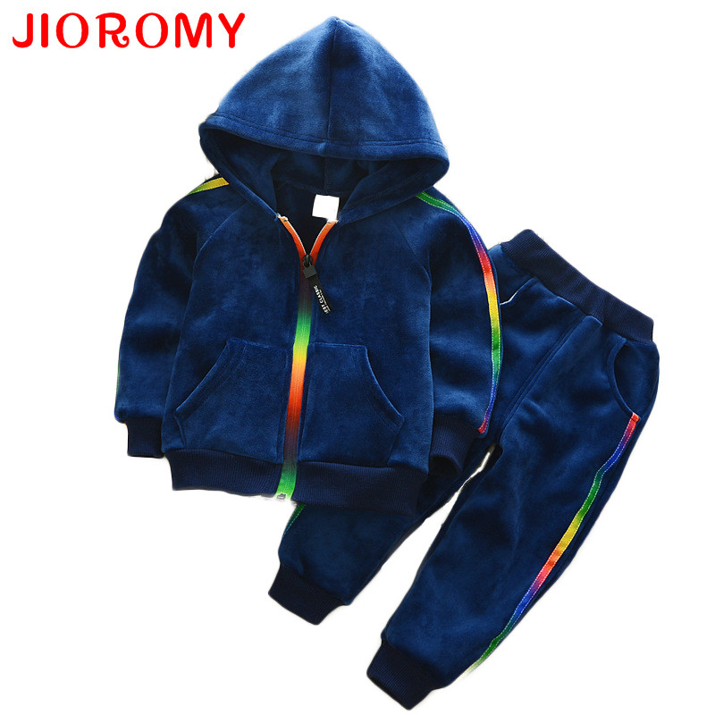 JIOROMY Baby Boys Clothing Sets 2017 Autumn Winter Velvet Thick Long-sleeved Zipper Hooded Jacket + Pants Child Children's Sets he hello enjoy baby girl clothes sets autumn winter long sleeved cartoon thick warm jacket skirt pants 2pcs suit baby clothing