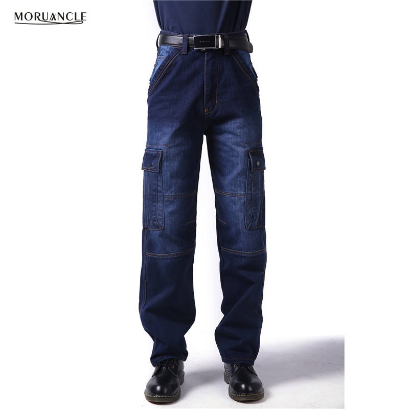 MORUANCLE New Men Loose Cargo Denim Pants With Multi Pockets Baggy Hip Hop Jeans Trousers For Big And Tall Super Plus Size 30-46 men hip hop jeans skateboard men baggy jeans denim hit hop pants casual loose jeans rap street wear