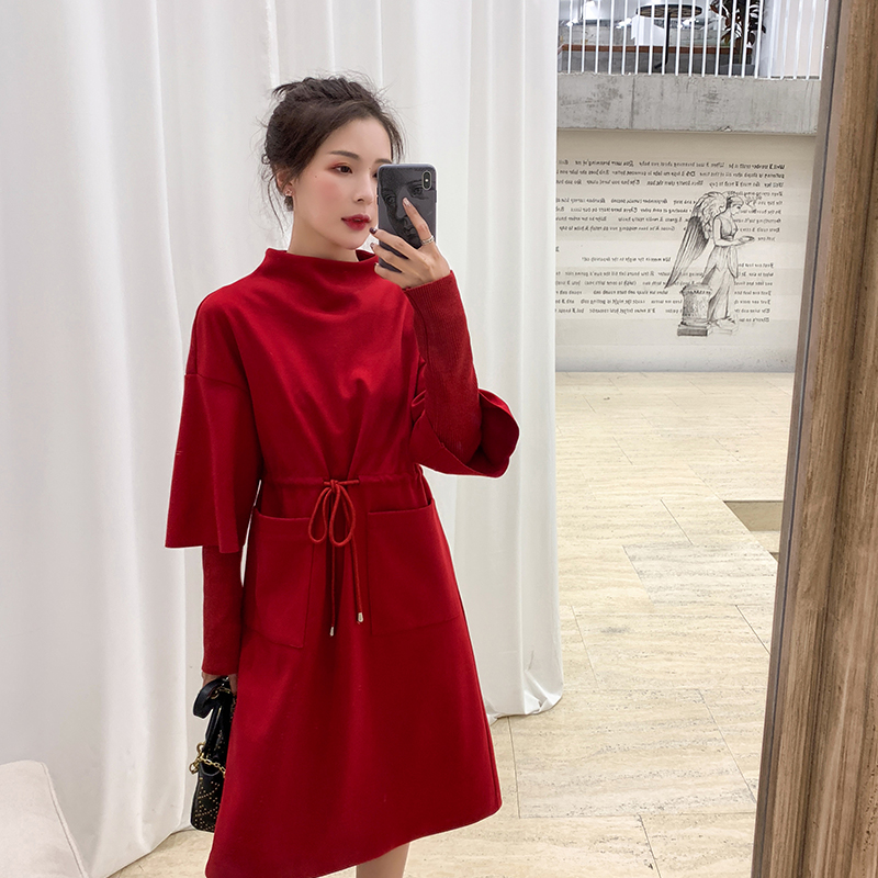 Large Size Women 2019 Winter Wear Red Aging Dress Knitted Bottom L 5XL Charming Lovely Big Size Belle Dress Vestidos Mujer DL547
